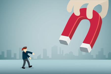 businessman with blindfold walking to big magnet. Stock Illustratie