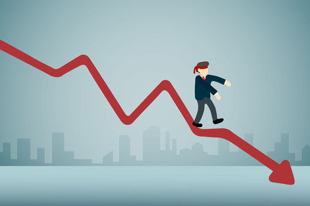 businessman with blindfold walking on downward graph. Illustration