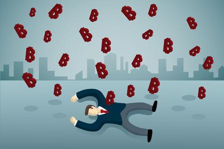 business man lie down on the floor with bitcoine rain.