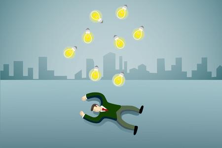 business man lie down on the floor with idea light bulb. Illustration