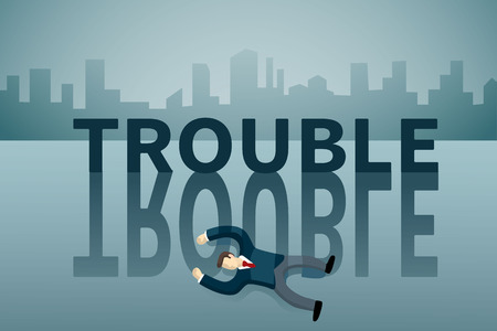 business man lie down on the floor in front of TROUBLE word. Illustration