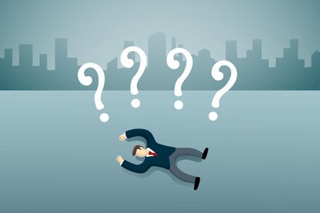 hombre de negocios se acuesta en el suelo con la pregunta firma