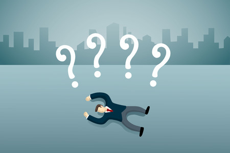 business man lie down on the floor with question mark.
