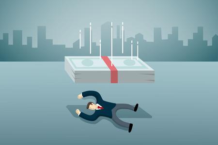 jackot business man lie down on the floor with folling down money. Standard-Bild - 101077320