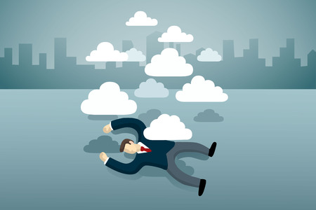 business man lie down on the floor with group of clouds.