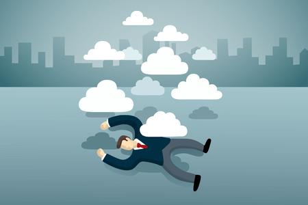 hombre de negocios se acuesta en el suelo con el grupo de nubes
