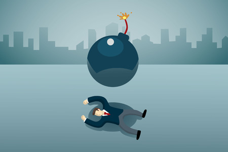 business man lie down on the floor with bomb. Illustration