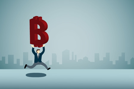 business man carrying bitcoine and running Illustration