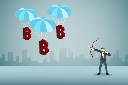 business man aiming at parachute bitcoine. Illustration
