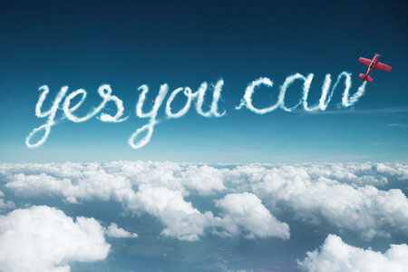 yes you can word created from a trail of smoke by Acrobatic plane. Standard-Bild