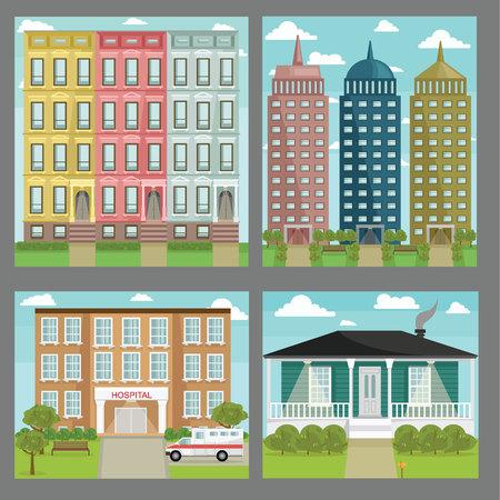 Architecture builing image design set