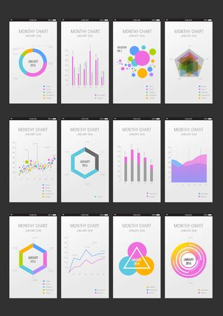 histograms: colorful mobile diagrams
