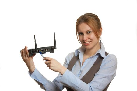 Girl with router Stock Photo - 4493179