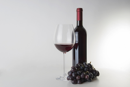 redwine: Red wine bottle with wineglass and grapes
