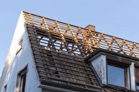 House demolition, teardown of a single house, Hamburg, Germany