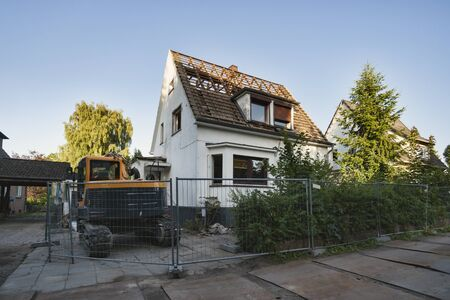 House demolition, teardown of a single house, Hamburg, Germany