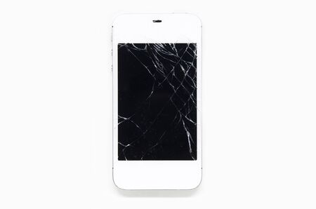 screen: Mobile phone screen is cracked isolated on white background.