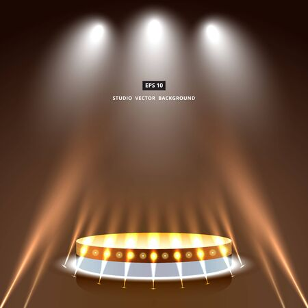 studio brown background with lighting and gold podium stage vector