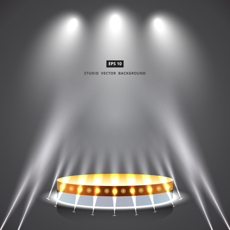Studio gray background with lighting and gold podium stage. Illustration