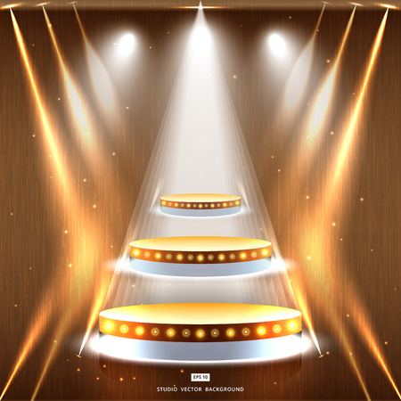 Studio wood background with lighting and gold podium stage vector