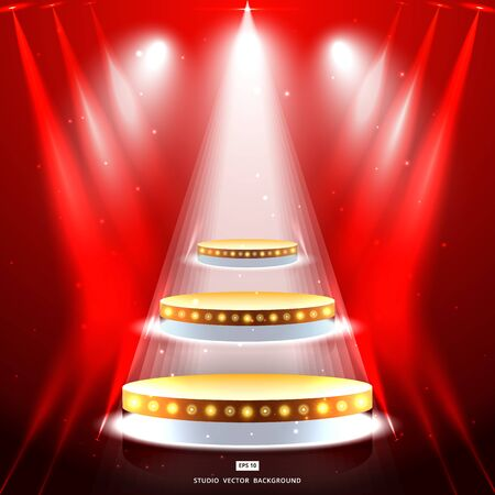 studio background with lighting and gold podium stage vector