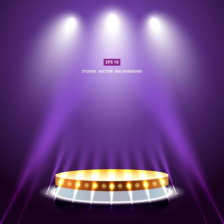 studio purple background with lighting and gold podium stage vector