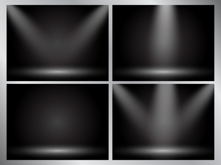 Set of clear empty studio light vector dark backgrounds for product presentation