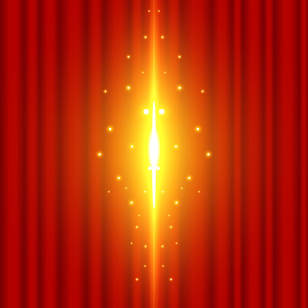 The background image of the red curtain is open with the beam coming out. grand opening vector