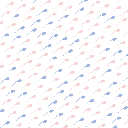 pink and blue spermatozoids icons on white background, seamless pattern vector