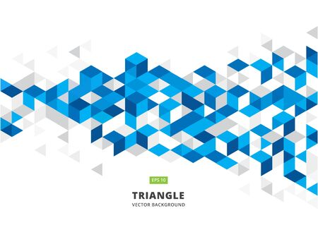 edges: Abstract blue geometric background with polygonal triangles, cube pattern.Template design with color triangle for brochure, leaflet, flyer design. Vector Illuatration Illustration