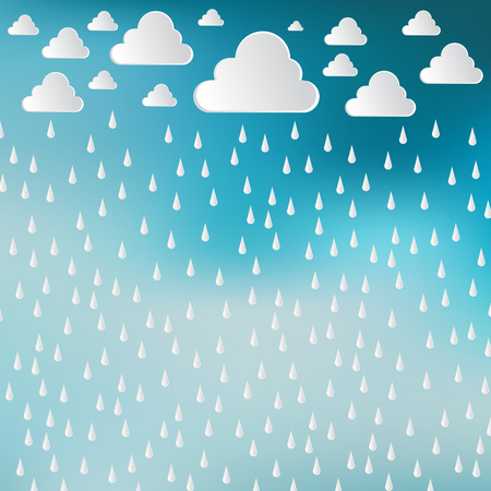 Paper cut white clouds and rain drops on blue sky background. Rainy day. Vector Illustration background Иллюстрация