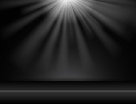dark black studio room background with lighting above, Vector illustration Ilustrace