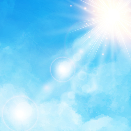 textspace: White cloud detail in blue sky with sunshine daylightvector illustration background with copy space Illustration