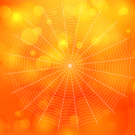 Orange blurred bokeh halloween background with spiders web Vector illustration.