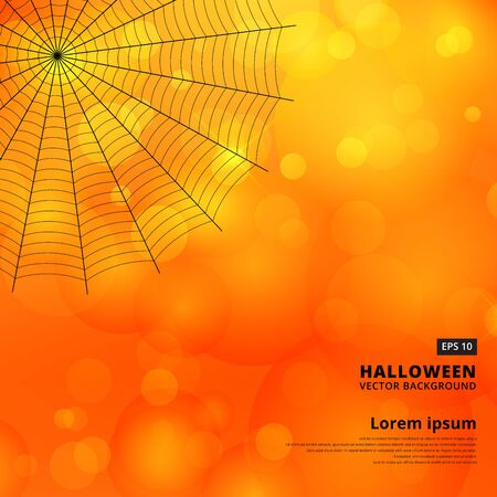 Orange blurred bokeh halloween background with spiders web, Vector illustration.
