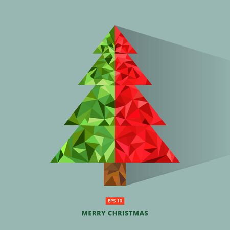 christmas tree illustration: Abstract geometric triangle low poly art style green and red christmas tree greeting card, polygonal design for brochure, magazine, poster, leaflet, print, ad, icon, Vector illustration