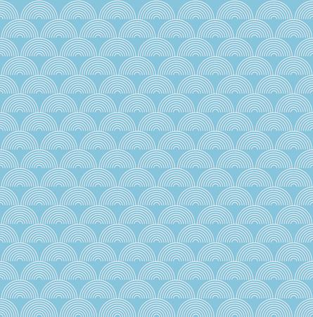 Abstrakte Seeozeanwasserwelle, blaues und weißes Halbkreis zeichnet Wellenmuster, lineare Designvektorillustration Vektorgrafik