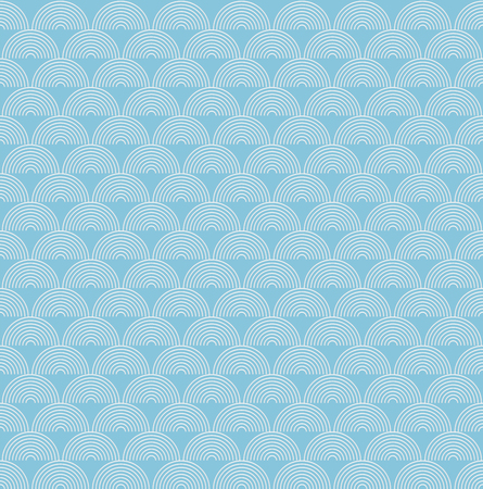 Abstract sea ocean water wave, blue and white semicircle lines wave pattern, linear design vector illustration