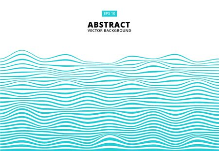 Abstract blue lines wave, Wavy stripes pattern, Rough surface, Vector Illustration.
