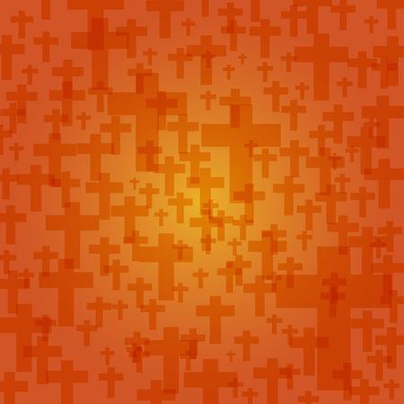 achtergrond donker oranje kleur halloween met kruisbeeld patroon textuur, vector illustratie