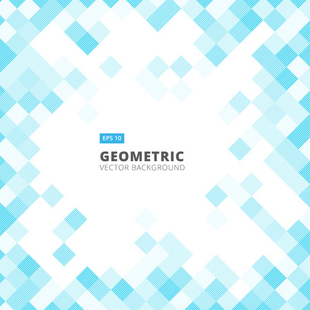Abstract diagonal line art geometric square blue color pattern background with copy space. Vector illustration