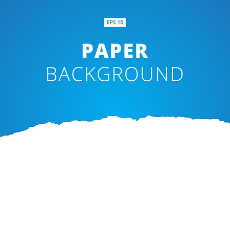 White ripped paper cut on blue background, Vector illustration