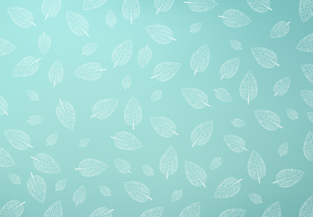 Mint leaf pattern, Green mint gradient mesh Background, copy space, Vector illustration