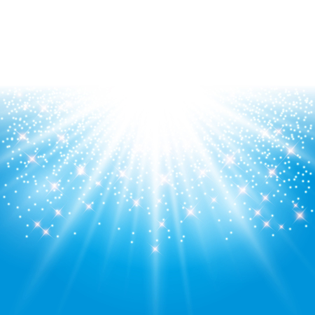 aura energy: Sunlight effect sparkle on blue background with glitter Illustration