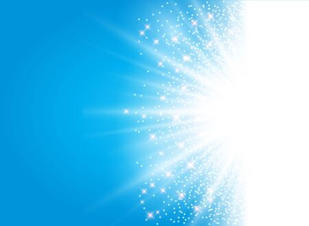 aura energy: sunlight effect sparkle on blue background with glitter copy space. Abstract vector illustration Illustration