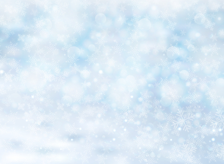 Christmas winter on blue background. White snow with snowflakes on silver bright light. Vector illustration Illustration