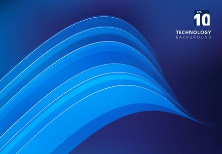 Abstract blue image with overlapping curve lines. Illustration