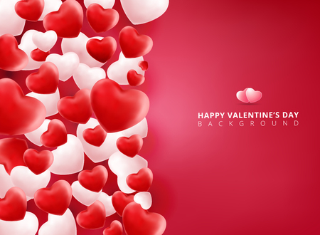 Soft and smooth red and white valentines hearts on pink Background with copy space for greetings card. Realistic 3D vector illustration.