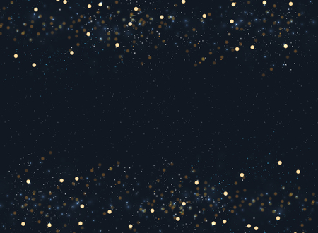 Abstract navy blue blurred background with bokeh and gold glitter header footers. Copy space. Vector illustration
