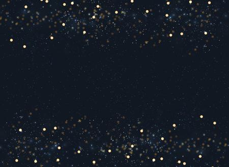 Fondo borroso azul marino abstracto con los pies de página del jefe del brillo del bokeh y del oro. Copia espacio Ilustración vectorial